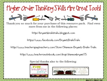 """Bloom's Taxonomy Class Posters (""""Higher Order Thinking Skills Are Great Tools!"""")"""