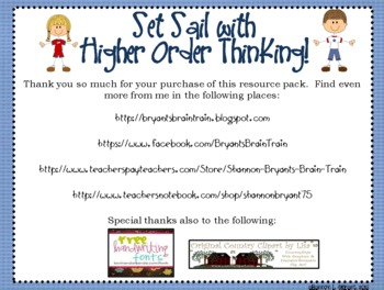 "Ocean Bloom's Taxonomy Class Posters (""Set Sail with Higher Order Thinking!"")"