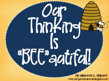 """Bee Bloom's Taxonomy Classroom Posters (Our Thinking Is """"BEE""""autiful!)"""