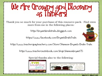 Garden Bloom's Taxonomy Posters (We Are Growing and Blooming as Thinkers!)