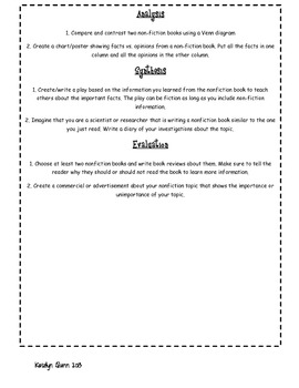 Bloom's Taxonomy Contract for Non-fiction Texts