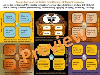Bloom's Taxonomy Critical Thinking Entry and Exit Tickets