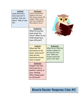 Bloom's Taxonomy Cube #2 - Story Elements / Reader Response