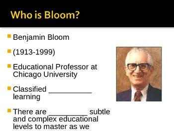Bloom's Taxonomy Fill In