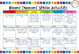 Blooms Taxonomy Four Seasons Activities