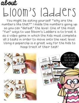 Bloom's Taxonomy Ladders for Little Learners: Increase Your Students' Thinking!