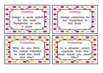 Bloom's Taxonomy Novel Study Task Cards