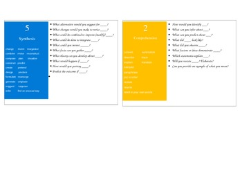 Blooms Taxonomy Question Cards extra 2, 5