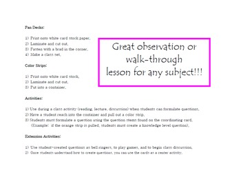 Blooms Taxonomy Question Cards for Students