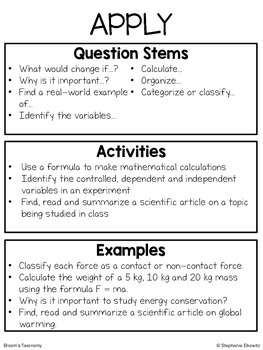 Bloom's Taxonomy Question Stems and Activities for Science
