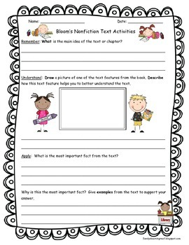 Bloom's Taxonomy Text Talk Cards & Activities to Use with Any Nonfiction Book!
