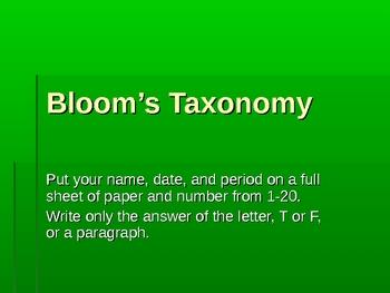 Bloom's Taxonomy Quiz