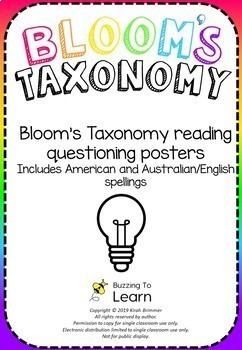 Blooms Taxonomy Reading Questioning Posters
