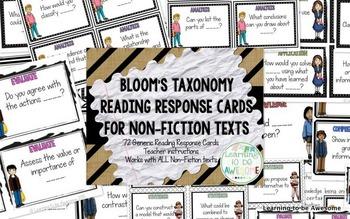 Blooms Taxonomy Reading Responses BUNDLE