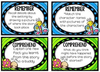 Blooms Taxonomy Reading Responses FOR YOUNGER READERS