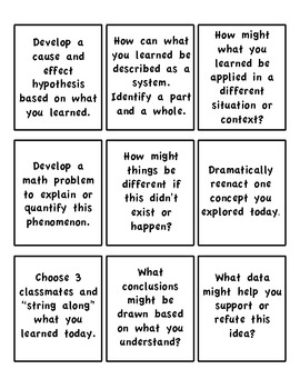 Bloom's Taxonomy Science Question Cards- Use to review ANY science lesson