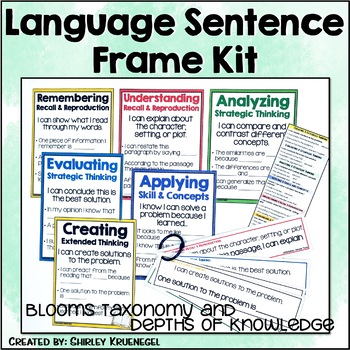 Blooms Taxonomy & Depth of Knowledge Poster Sentence Frames