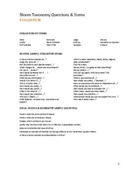 Bloom's Taxonomy Stems & Guiding Questions for Social Studies and Geography
