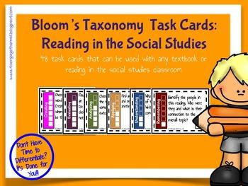 Bloom's Taxonomy Task Cards: Reading in the Social Studies
