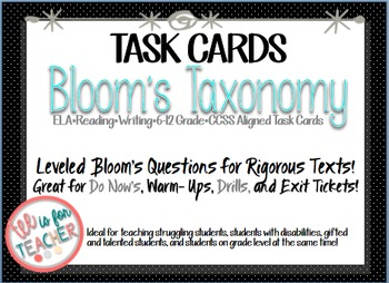 Bloom's Taxonomy Task Prompts for Middle and High School Students