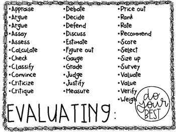 Blooms Taxonomy Verb Lists