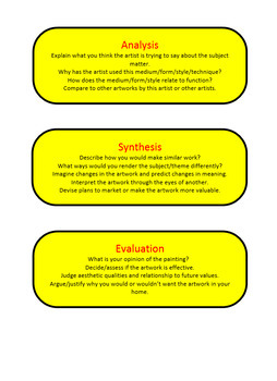 Blooms Taxonomy for Art Questions & Question Cards