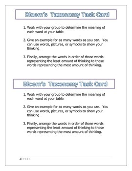Bloom's Taxonomy mini-lesson and project
