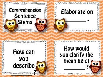 Bloom's (revised) Taxonomy Sentence Stem Cards with Owls