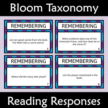 Blooms's Taxonomy Differentiated Higher Order Thinking Reading Responses