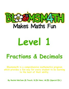 Bloomsmath Differentiated Fraction and Decimal Kindergarten Maths Activities