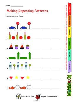 Bloomsmath Differentiated Patterns and Algebra Kindergarten Maths Activities