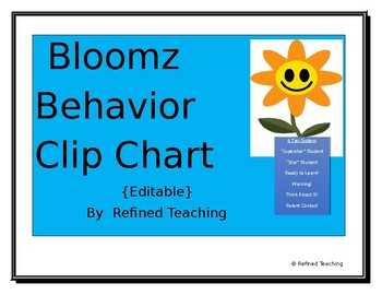 Bloomz Behavior Clip Chart (Editable)