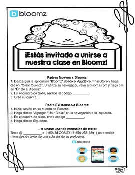 Bloomz Parent Letter In English Spanish By Myhappycorner Tpt