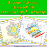 Color by Code Homework for Speech & Language Blossom Pattern