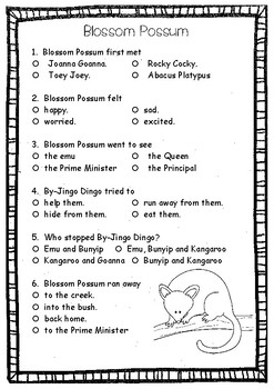 Blossom Possum ~ A week of literacy and reading activities