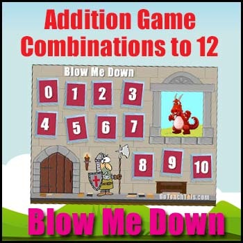Number Sense Game -  Combinations to 12 - 'Blow Me Down'