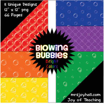 Blowing Bubbles {Bright Colors} 66 Digital / Scrapbook Papers