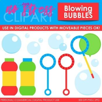 Blowing Bubbles Clip Art Blue Set (Digital Use Ok!)