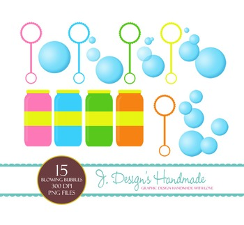 Blowing Bubbles Clipart Set - Bubbles - Bubble Images - Blowing Bubbles