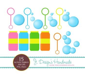 Blowing Bubbles Clipart Set - Bubbles - Bubble Images - Bl