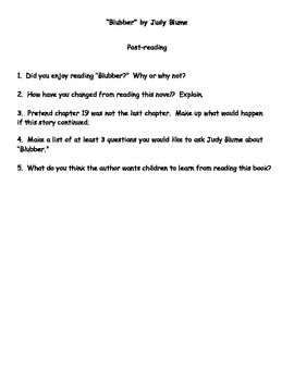 """Blubber"" by Judy Bloom Reading Response Questions"