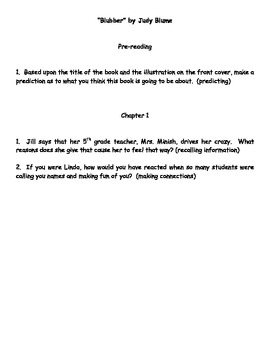 """""""Blubber"""" by Judy Bloom Reading Response Questions"""