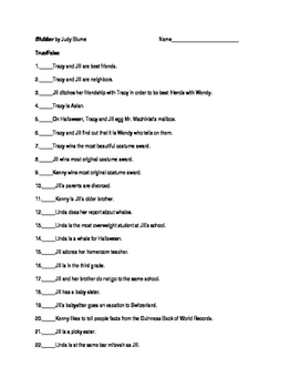 Blubber by Judy Blume 35 Question Objective Test