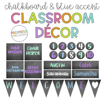 Blue Accented Chalkboard Classroom Decor Bundle