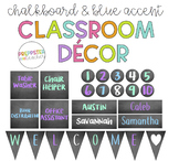 Blue Accented Chalkboard Classroom Decor Bundle