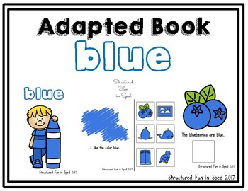 Blue Adapted Book for Preschool, Pre-K and Special Needs
