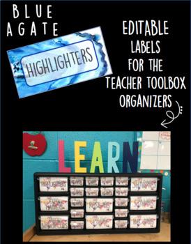 Blue Agate Teacher Toolbox Organizer Labels (editable)