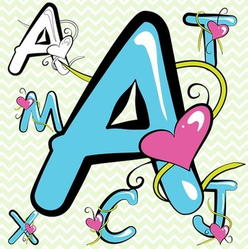 Blue Alphabet Letters Clip Art - Valentine's Day!