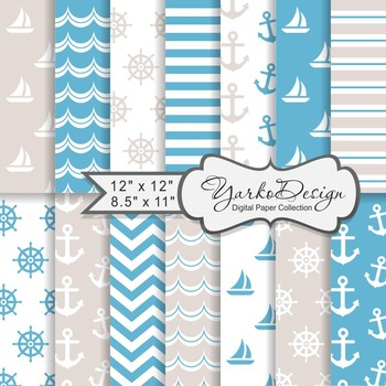 Blue And Beige Nautical Digital Paper Pack, Geometric, 14 Sheets