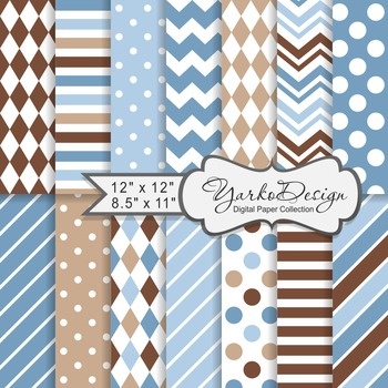 Blue And Brown Geometric Digital Paper Set, 12 Digital Paper Sheets